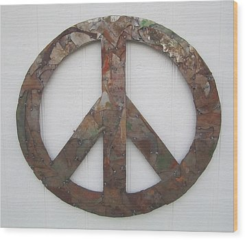 Peace Sign From Pieces Recylced Metal Wall Sculpture Wood Print by Robert Blackwell