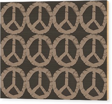 Peace Symbol Collage Wood Print by Michelle Calkins