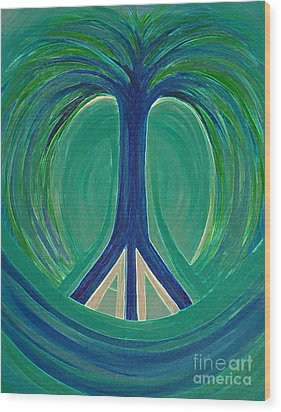 Peace Tree By Jrr Wood Print