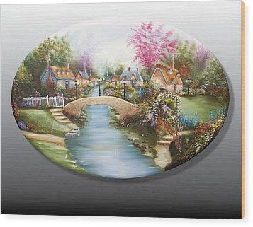 Peaceful Alpine Village 1 Wood Print