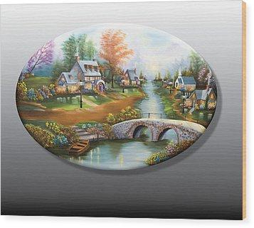 Peaceful Alpine Village 2 Wood Print