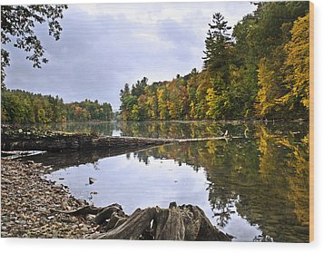 Peaceful Autumn Lake Wood Print by Christina Rollo
