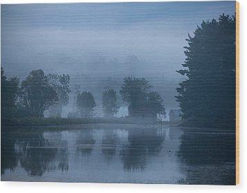 Peaceful Blue Wood Print by Karol Livote