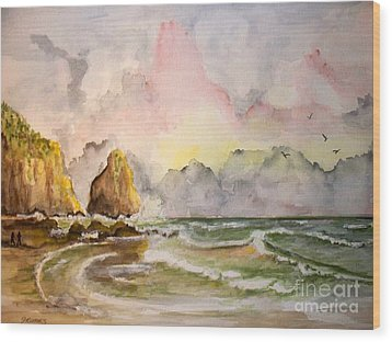 Peaceful Cove Wood Print by Carol Grimes