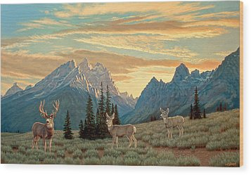Peaceful Evening - Tetons Wood Print