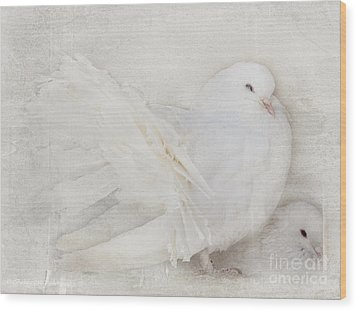 Peaceful Existence White On White Wood Print by Barbara McMahon