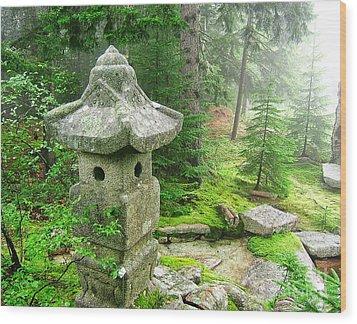 Peaceful Japanese Garden On Mount Desert Island Wood Print by Edward Fielding