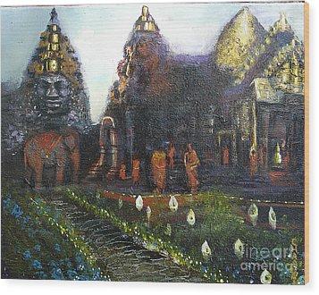 Peaceful Moment In Ankur Wat Wood Print