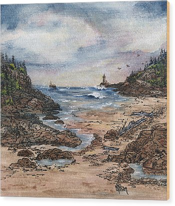 Peaceful Ocean Wood Print by Meldra Driscoll