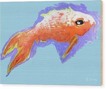 Peaceful Orange Goldfish Wood Print by Robert Conway