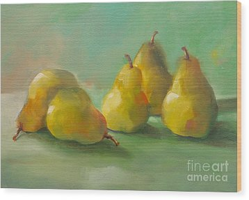 Wood Print featuring the painting Peaceful Pears by Michelle Abrams
