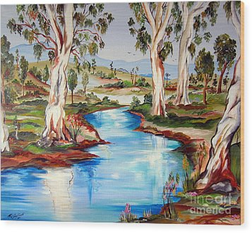 Peaceful River In The Australian Outback Wood Print