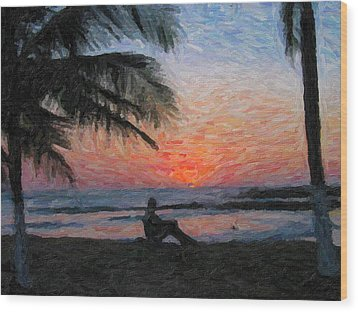 Peaceful Sunset Wood Print by David Gleeson