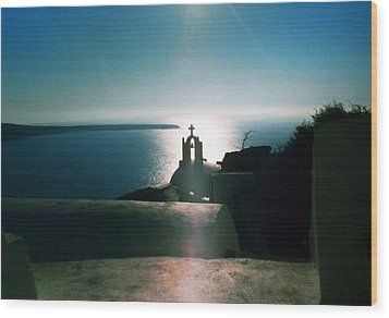 Wood Print featuring the photograph Peaceful Sunset Santorini Island Greece by Colette V Hera  Guggenheim