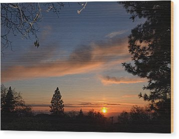 Peaceful Sunset Wood Print by Tom Mansfield
