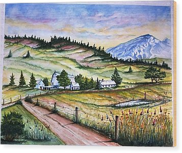 Peaceful Valley Farm Wood Print by Richard Benson