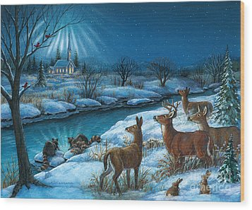 Peaceful Winters Night Wood Print