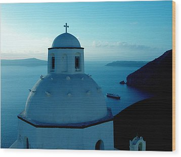 Peacefull Santorini Greek Island  Wood Print