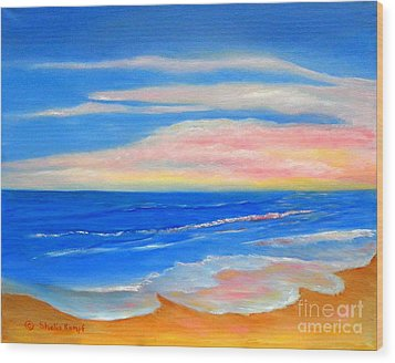 Wood Print featuring the painting Peacefully Pink - Pink Seascapes by Shelia Kempf