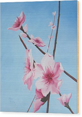 Peach Blossoms Wood Print by Mary Rogers