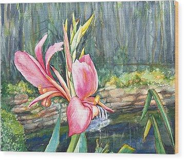 Peach Canna By The Pond Wood Print by Patricia Allingham Carlson