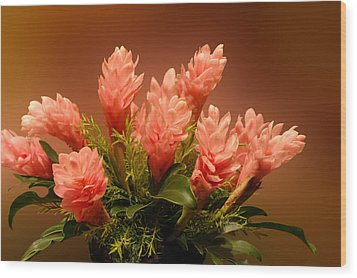 Peach Gibger Blossoms Wood Print