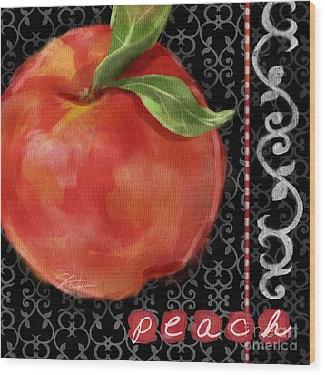 Peach On Black And White Wood Print by Shari Warren