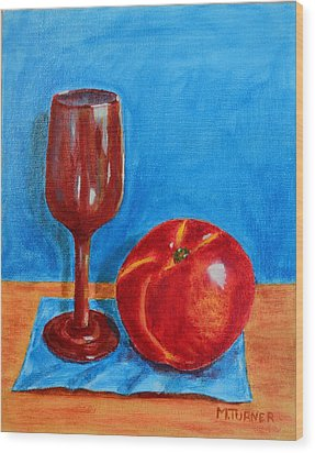 Wood Print featuring the painting Peach Wine by Melvin Turner