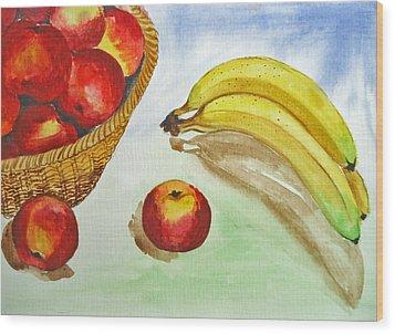 Peaches And Bananas Wood Print by Shakhenabat Kasana