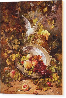 Wood Print featuring the painting Peaches And Grapes With A Dove - Bourland - 1875 by Antoine Bourland