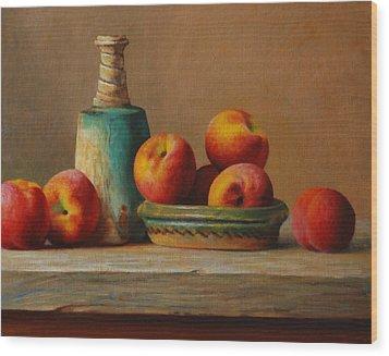 Peaches And Green Ceramic Wood Print by Dan Petrov