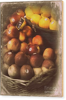 Peaches And Lemons - Old Photo - Top Finisher Wood Print by Miriam Danar
