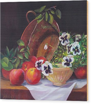 Peaches And Pansies  Wood Print by Donna Munsch
