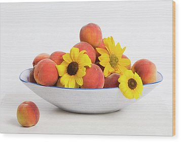 Peaches And Sunflowers Wood Print by Diane Macdonald