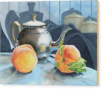 Peaches And Tea Wood Print by Barbara Jewell