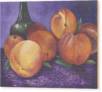 Peaches And Wine Wood Print by Alika Kumar