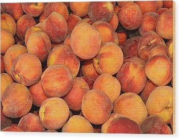 Peaches Wood Print by Diane Lent