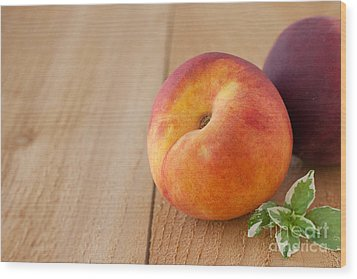Peaches Wood Print by Kay Pickens