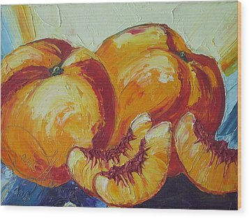 Peaches Study Wood Print by Paris Wyatt Llanso