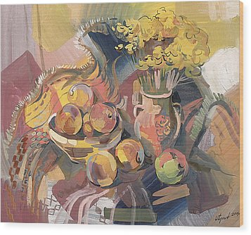 Peaches With Immorteles Wood Print by Meruzhan Khachatryan