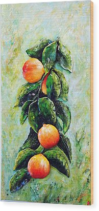 Peachy Day Wood Print