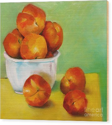 Wood Print featuring the painting Peachy Keen by Michelle Abrams