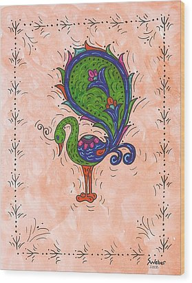 Wood Print featuring the painting Peachy Peacock by Susie Weber