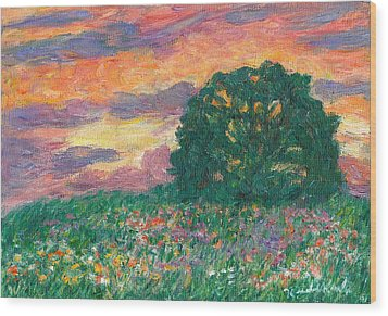 Peachy Sunset Wood Print by Kendall Kessler