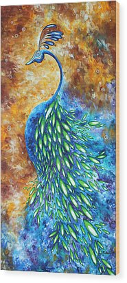 Peacock Abstract Bird Original Painting In Bloom By Madart Wood Print by Megan Duncanson
