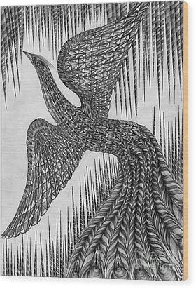 Peacock Wood Print by Anca S