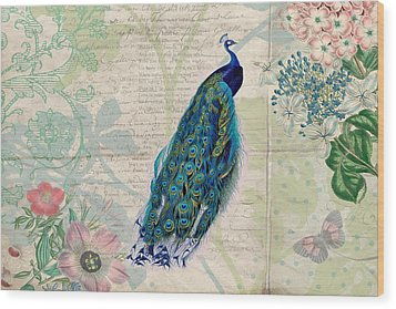 Peacock And Botanical Art Wood Print