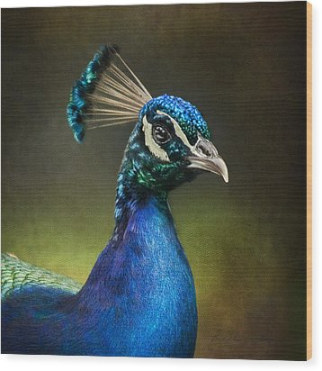 Wood Print featuring the photograph Peacock by Ann Lauwers