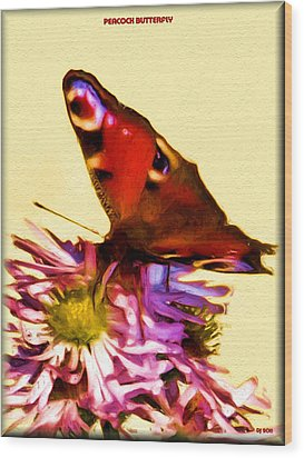 Wood Print featuring the digital art Peacock Butterfly by Daniel Janda