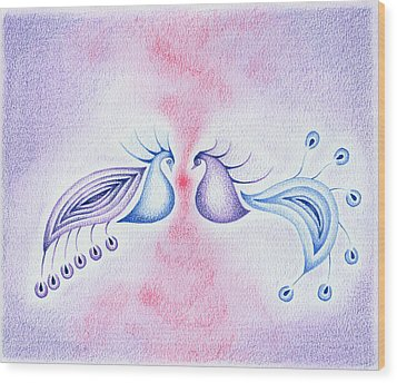 Peacock Dance Wood Print by Keiko Katsuta